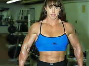 Denise Hoshor working out and posing in the gym