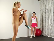 Flexible lesbian lets her trainer do everything
