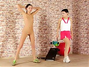 Nude gym lesson with and without a lesdom gag