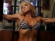 Mandy K does bodybuilding work in the gym, and pos...